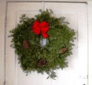 """Fresh Balsam Wreath Decorated With Velvet Bow 24"""""""