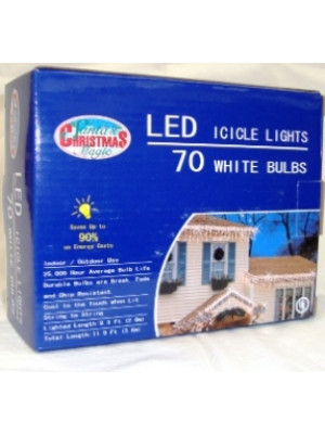 LED 70 White Icicle Lights White Wire
