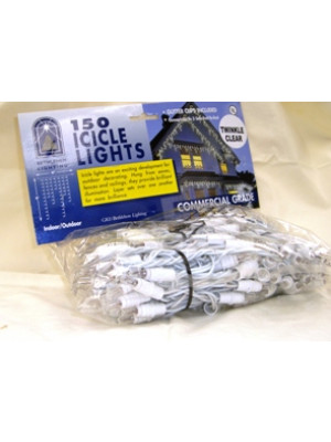 Commercial 150 Clear Twinkle Icicle Lights