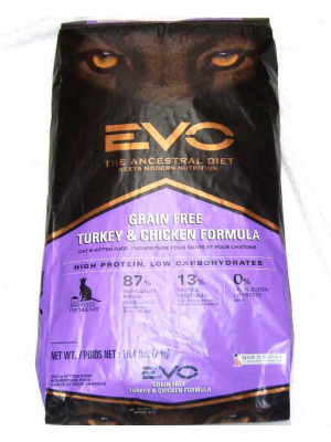 Evo Turkey/Chicken Dry Cat Food 15.4 Lb.