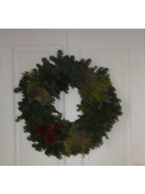 "20"" Fresh Noble Wreath With Mixed Greens"