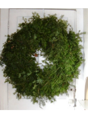 "Plain Fresh Balsam Evergreen Wreath 36"""