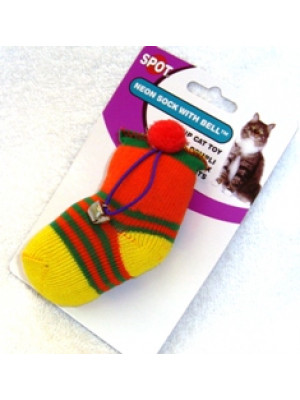 Neon Sock With Bell Cat Toy