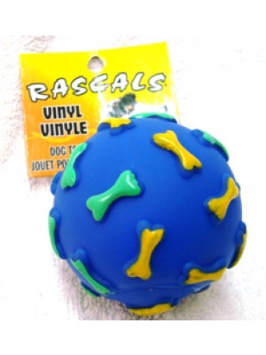 Vinyl Bone Print Ball Dog Toy
