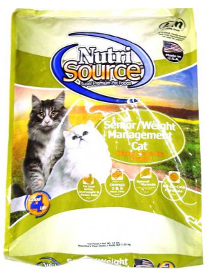 Nutri Source Senior/Light Cat Food 16 Lb.