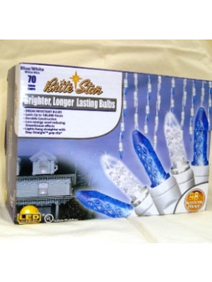 LED Icicle 70 Blue Bulb White Cord