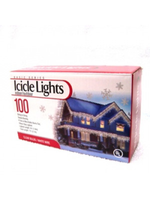 Clear 100 Icicle Lights White Wire