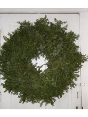 "Large Plain Balsam Fresh Evergreen Wreath 30"""