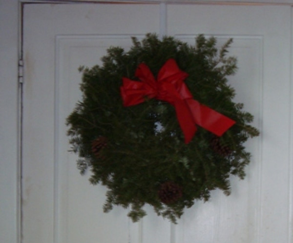 Fresh Balsam Wreath Decorated With Plastic Bow 18""