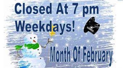 Closed at 7 pm